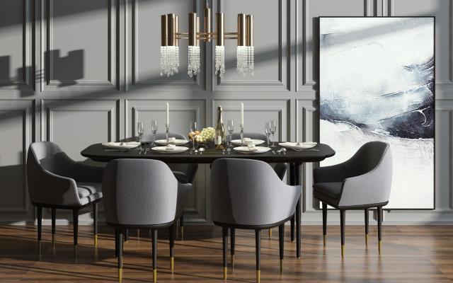 后现代餐桌椅吊灯组合3D模型【ID:732923131】