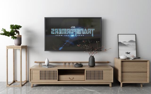 新中式电视柜3D模型【ID:950506917】