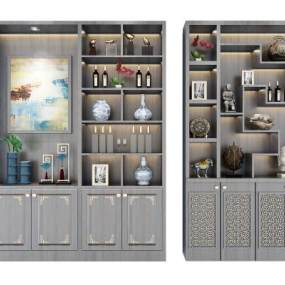 新中式酒柜装饰柜组合3D模型【ID:633051262】