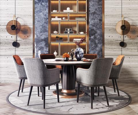 現代輕奢餐桌椅組合3D模型【ID:736156101】