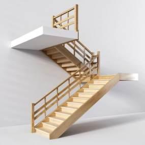 现代简约实木楼梯现代简约3D模型【ID:330626596】