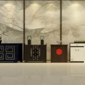 新中式玄关柜3D模型【ID:148771013】