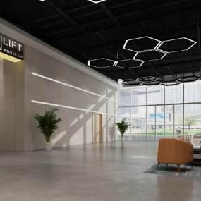 工业风办公大厅3D模型【ID:950627535】