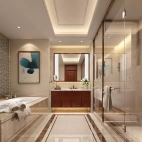 现代酒店客房3D模型【ID:734784369】