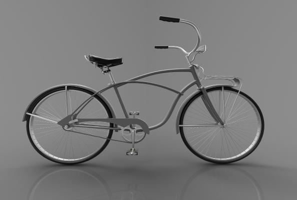 现代复古风小单车3D模型【ID:443415617】
