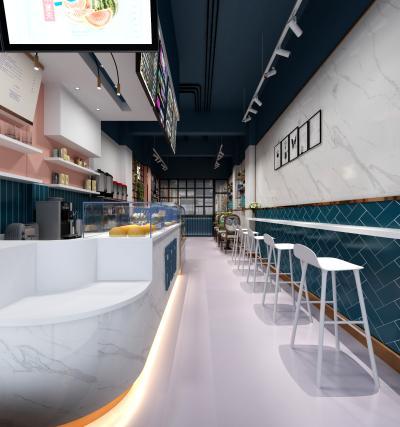 网红奶茶店咖啡店3D模型【ID:640596489】