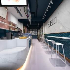 网红奶茶店咖啡店 3D模型【ID:640596489】