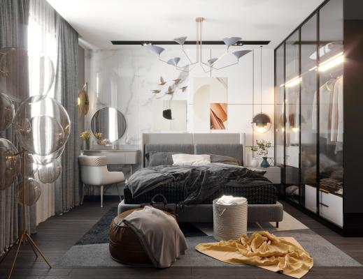 现代卧室组合3D模型【ID:544416212】