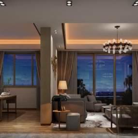 新中式客厅3D模型【ID:543467075】