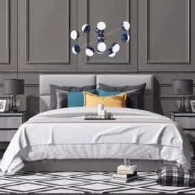 现代北欧双人床吊灯床头柜组合3D模型【ID:643326191】
