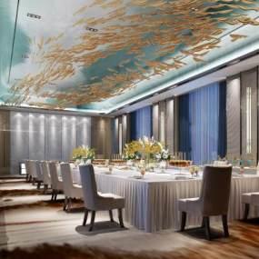 新中式多功能宴會廳餐廳3D模型【ID:747407258】