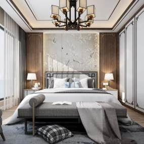新中式卧室3D模型【ID:531939256】
