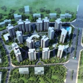 现代鸟瞰小区建筑3D模型【ID:132753779】