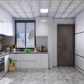 现代风格厨房 3D模型【ID:542258330】