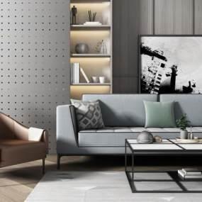 现代沙发茶几组合3D模型【ID:634465787】