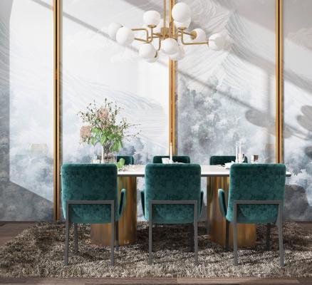 現代輕奢風格餐廳3D模型【ID:551357195】