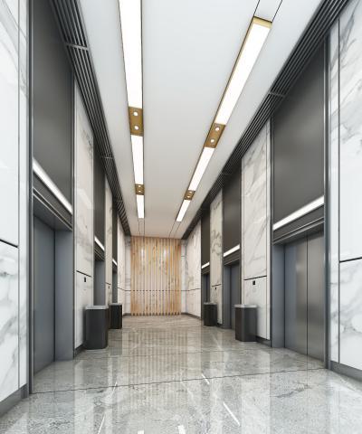 现代电梯厅3D模型【ID:945552542】