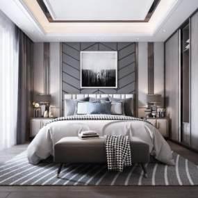 现代卧室 3D模型【ID:542372298】