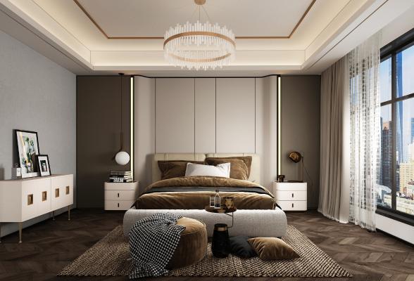 现代主人房卧室3D模型【ID:553301285】