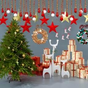 现代圣诞礼品盒圣诞树饰品摆件3D模型【ID:231791575】