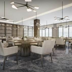现代素雅酒店自助餐厅3D模型【ID:646285656】