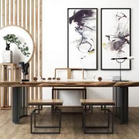 新中式书台书桌椅松柏盆栽组合3D模型【ID:935765006】