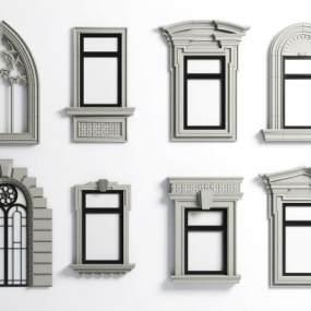 简欧石材窗框线条装饰3D模型【ID:333309232】