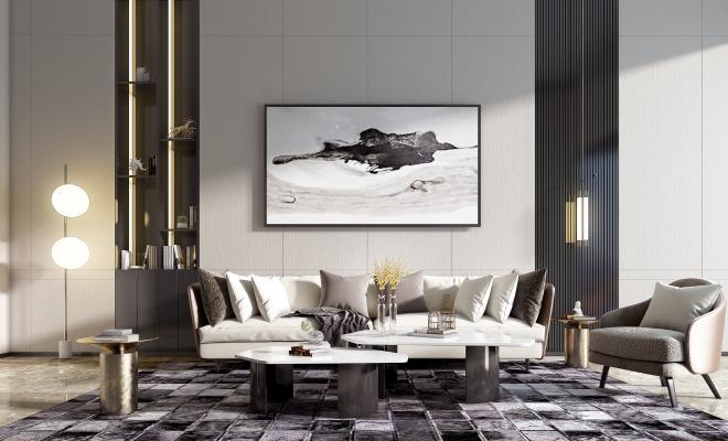 现代沙发组合3D模型【ID:645935752】