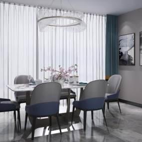现代北欧餐桌椅吊灯组合3D模型【ID:836026838】