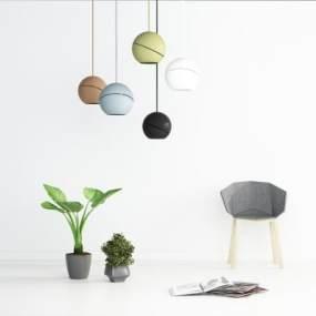 现代圆形吊灯组合3D模型【ID:845767431】