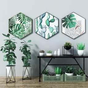 北欧盆栽植物组合3D模型【ID:232752879】