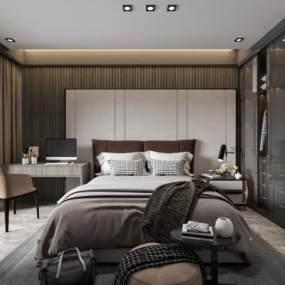现代卧室3D模型【ID:548666278】