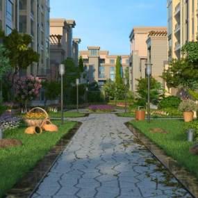 现代小区园林景观3D模型【ID:136019415】