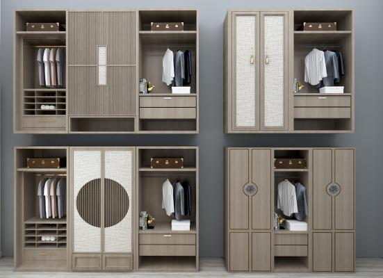 新中式实木衣柜组合3D模型【ID:130621464】