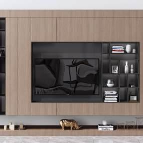 现代电视背景墙电视柜3D模型【ID:936038995】