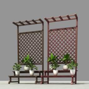 现代木花架3D模型【ID:135970466】