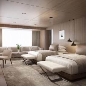 现代酒店客房双人房 3D模型【ID:741300319】