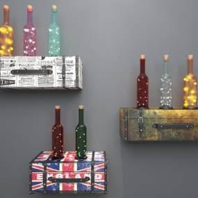 工业风皮箱酒瓶装饰灯3D模型【ID:232133773】