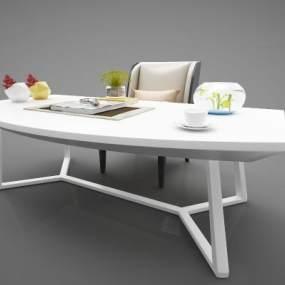 现代风格书桌3D模型【ID:952893187】