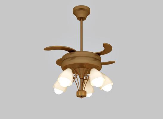 现代金属风扇电扇吊灯3D模型【ID:842054535】