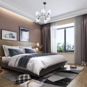 现代卧室3D模型【ID:531635242】