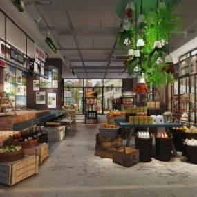 现代蔬果店超市3D模型【ID:133433144】