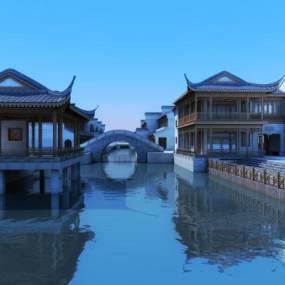 古建商业水街 3D模型【ID:140832283】