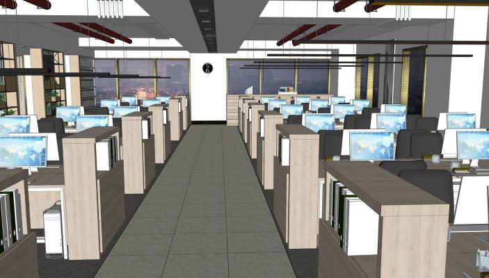现代办公室SU模型【ID:345489293】