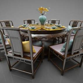 新中式风格餐桌3D模型【ID:844593803】