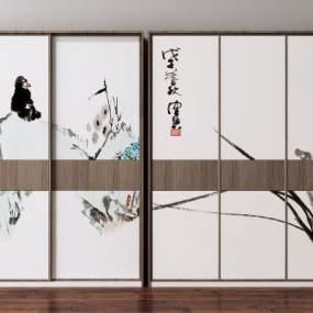 新中式实木衣柜3D模型【ID:145542475】
