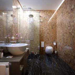 现代轻奢浴室3D模型【ID:549246533】