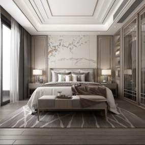 新中式卧室3D模型【ID:553849242】