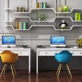 现代儿童书桌椅组合3D模型【ID:948463093】