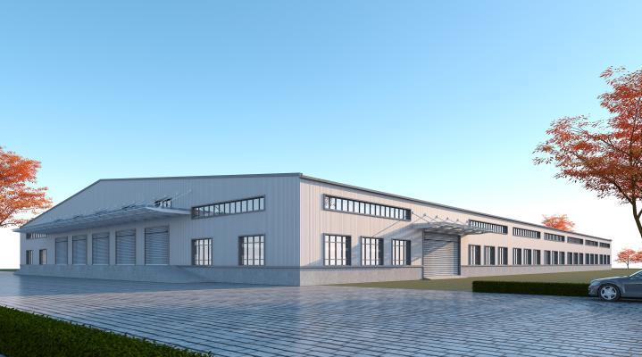 现代工业厂房3D模型【ID:246170322】